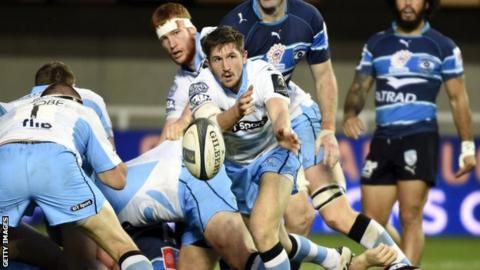 Glasgow Warriors scrum-half Henry Pyrgos offloads during the match against Montpellier