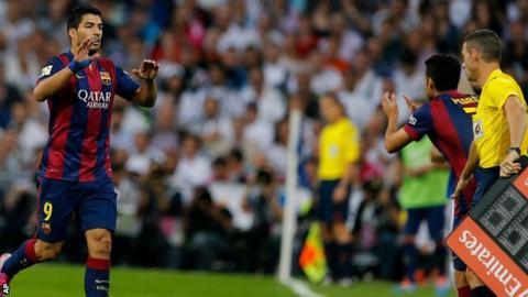 Luis Suarez replaced by Pedro