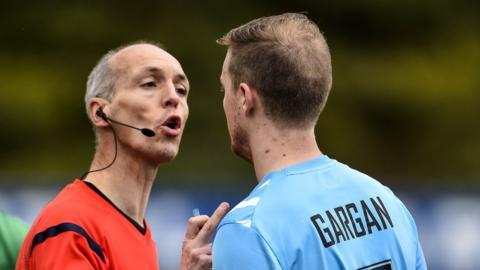 Referee Raymond Hetherington sent off Ciaran Gargan during Warrenpoint Town's 5-2 defeat by Glentoran