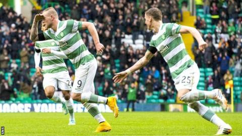 John Guidetti celebrates scoring against Kilmarnock