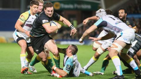 George North takes on Ospreys