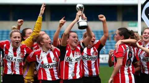 Sunderland clinched promotion to the top flight of the Women's Super League on the last day of the season.