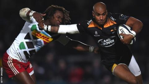 England wingers past and present Marland Yarde (Harlequins) and Tom Varndell (Wasps) take part in a high-speed duel