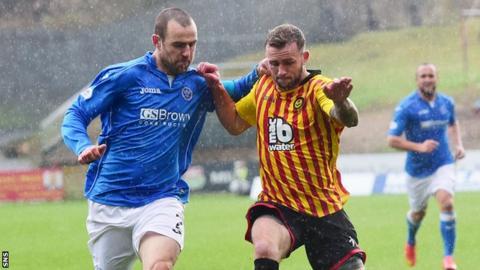 St Johnstone defender Dave Mackay (left)