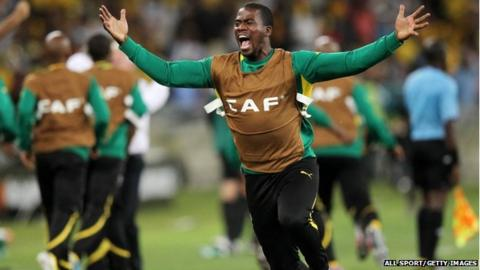Senzo Meyiwa of South Africa during the 2013 Orange African Cup of Nations in Durban, South Africa on 27 January 2013