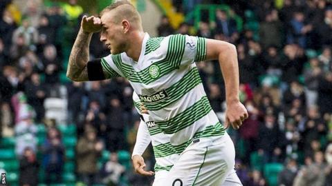 Celtic striker John Guidetti celebrates his goal against Kilmarnock