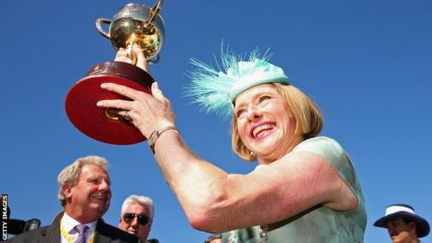Gai Waterhouse with the Melbourne Cup in 2013