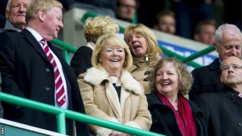 Hearts owner Ann Budge (centre) in the Easter Road stand as her team face Hibs