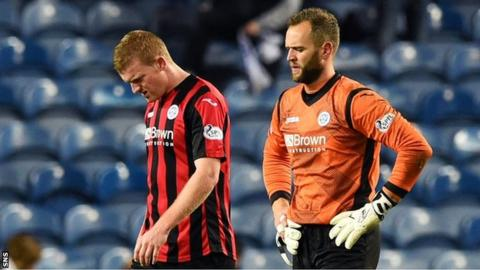 Brian Easton and goalkeeper Alan Mannus