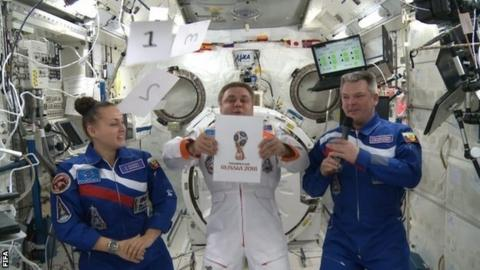 Russia 2018 World Cup emblem is revealed on the International Space Station