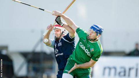 Scotland were well beaten in the return leg of the shinty-hurling challenge