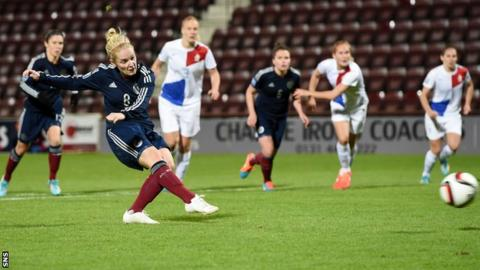 Scotland midfielder Kim Little scores a penalty against the Netherlands