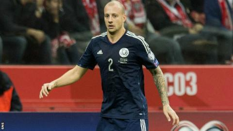 Alan Hutton playing for Scotland