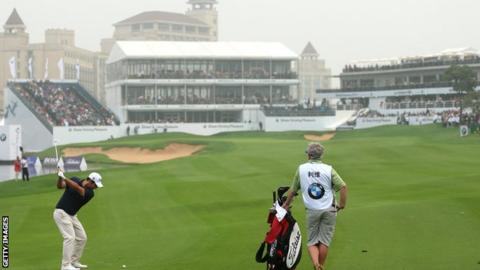 Alexander Levy in third-round action at the BMW Masters in Shanghai