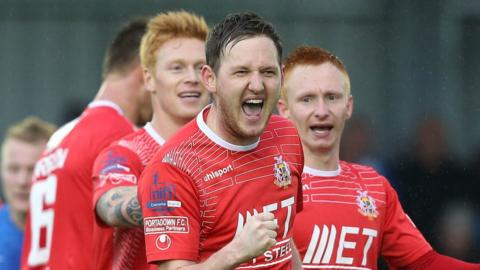 Gary Twigg netted the second goal in Portadown's 2-0 win away to Ballinamallard United