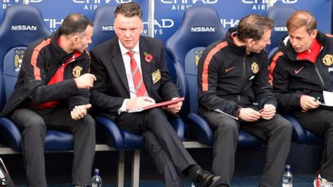 Manchester United manager Louis van Gaal (second left)