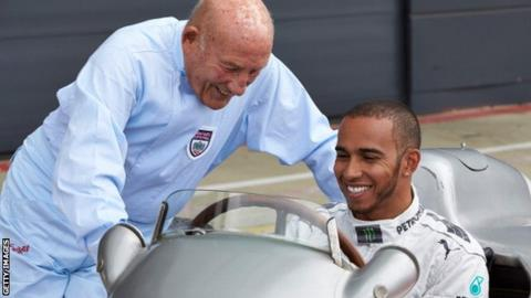 Sir Stirling Moss and Lewis Hamilton