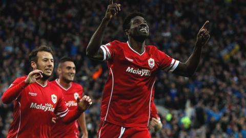 Bruno Ecuele Manga of Cardiff celebrates scoring his team's first goal