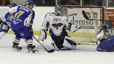 Todd Dutiame nets for Fife Flyers in their match against Hull Stingrays