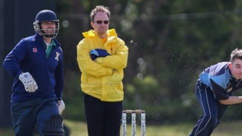 Umpire in a Guernsey cricket match