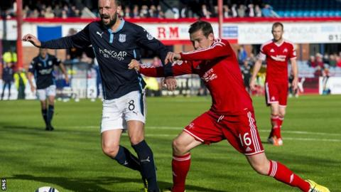 Kevin McBride and Aberdeen's Peter Pawlett