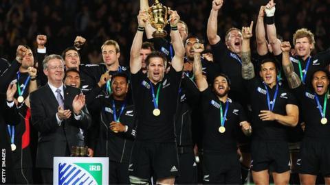New Zealand's captain Richie McCaw lifts the 2011 Webb Ellis Cup