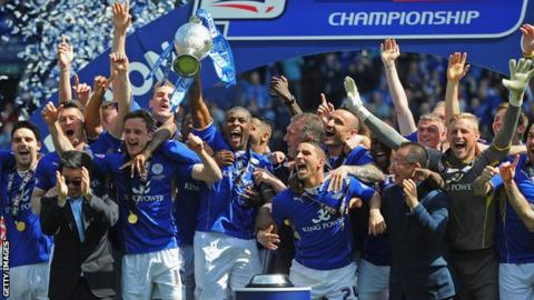 Leicester City players celebrate winning Championship