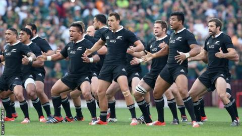 New Zealand rugby union team perform the haka