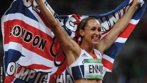 Jessica Ennis-Hill celebrates winning at London 2012
