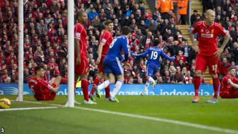 Diego Costa scored in the second half for Chelsea at Liverpool