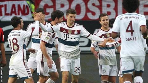 Thomas Muller celebrates with team-mates