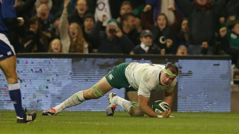 Flanker Rhys Ruddock scored Ireland's first try after being called in as a late replacement for Chris Henry who had to withdraw through illness