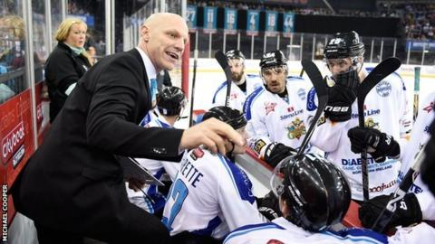 Coach Steve Thornton addresses his Belfast Giants players
