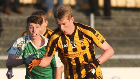 Martin Beagan and Rory Carr in action during St Eunan's 1-9 to 0-6 victory over Fermanagh champions Roslea