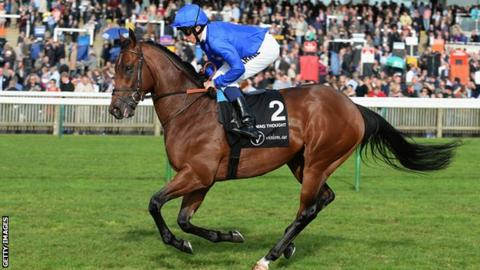 William Buick rides Godolphin's Charming Thought to victory in the Middle Park Stakes