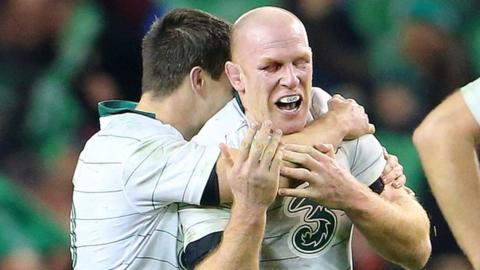 Jonathan Sexton embraces Paul O'Connell during Ireland's win over South Africa