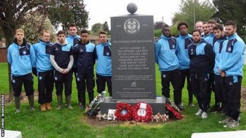 Wycombe Wanderers players at the memorial for the footballers' battalion