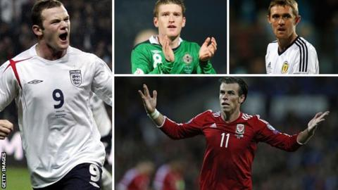 Wayne Rooney, Steven Davis, Darren Fletcher and Gareth Bale