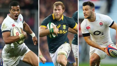 England debutant Anthony Watson, South Africa World Player of the Year nominee Duane Vermuelen and England scrum-half Danny Care
