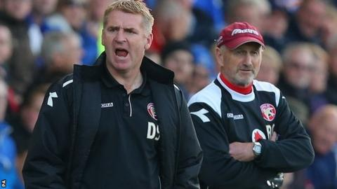 Walsall manager Dean Smith and his Saddlers number two Richard O'Kelly