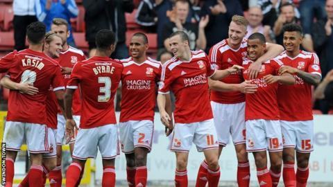 Swindon Town celebrate scoring