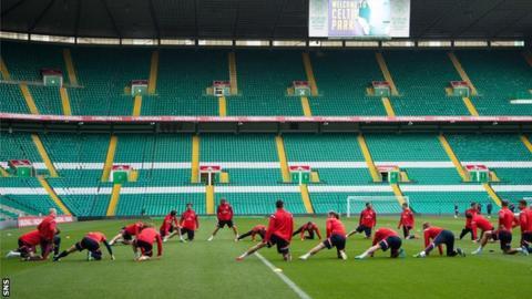 Scotland players train at Celtic Park