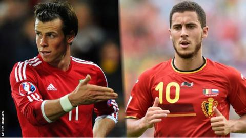 Wales's Gareth Bale and Belgium's Eden Hazard will carry their sides' attacking hopes