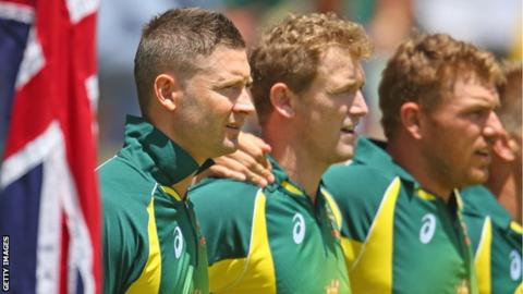 Australia captain Michael Clarke and team-mates at the anthems