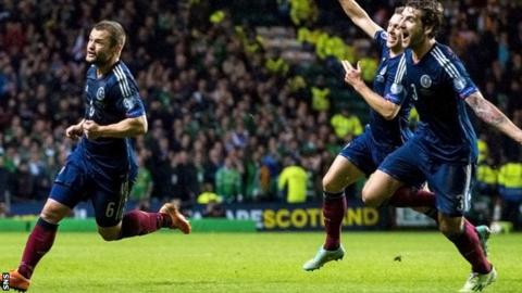 Shaun Maloney (left) gave Scotland victory
