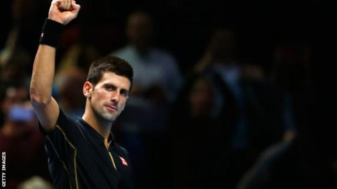 Novak Djokovic celebrates his semi-final win