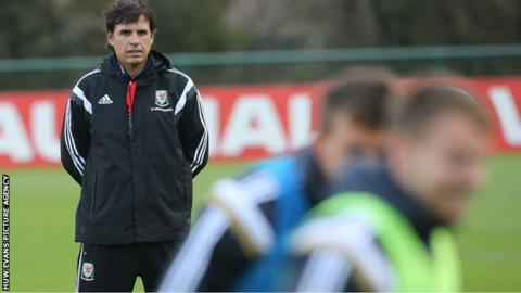 Wales manager Chris Coleman oversees training in Belgium