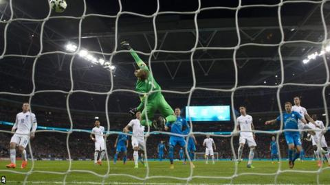 Slovenia open the scoring against England at Wembley