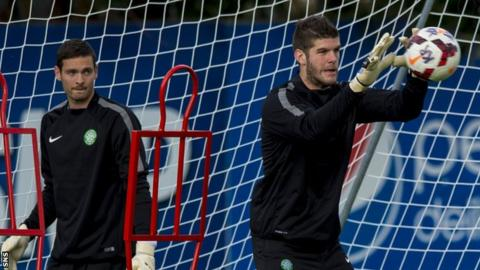 Craig Gordon and Fraser Forster in training with Celtic