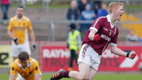 Christopher Bradley runs away in delight after scoring Slaughtneil's goal against Clontibret